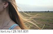 Купить «Long hair of the brown-haired young girl scatter in the wind in the sunshine rays of the evening», видеоролик № 29161831, снято 6 сентября 2018 г. (c) Mikhail Davidovich / Фотобанк Лори