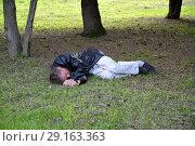 Спящий пьяный мужчина лежит на газоне в парке (2018 год). Редакционное фото, фотограф Ирина Борсученко / Фотобанк Лори