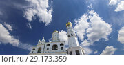 Купить «Ivan the Great Bell Tower (Kolokolnya Ivana Velikogo). Inside of Moscow Kremlin, Russia (day).», фото № 29173359, снято 11 мая 2018 г. (c) Владимир Журавлев / Фотобанк Лори