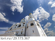 Купить «Ivan the Great Bell Tower (Kolokolnya Ivana Velikogo). Inside of Moscow Kremlin, Russia (day).», фото № 29173367, снято 11 мая 2018 г. (c) Владимир Журавлев / Фотобанк Лори