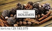 Купить «Happy Holidays text and various ingredients 4k», видеоролик № 29183079, снято 8 июля 2020 г. (c) Wavebreak Media / Фотобанк Лори