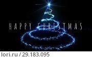 Купить «Happy Christmas text and lights 4k», видеоролик № 29183095, снято 17 февраля 2020 г. (c) Wavebreak Media / Фотобанк Лори