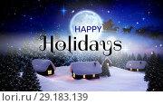 Купить «Happy Holidays text and reindeers pulling sledge 4k», видеоролик № 29183139, снято 22 мая 2019 г. (c) Wavebreak Media / Фотобанк Лори