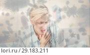 Купить «Woman with chest pain and bacterial cell 4k», видеоролик № 29183211, снято 16 июля 2019 г. (c) Wavebreak Media / Фотобанк Лори