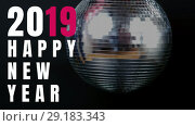 Купить «Shiny disco ball on New Year Eve 4k», видеоролик № 29183343, снято 26 июня 2019 г. (c) Wavebreak Media / Фотобанк Лори