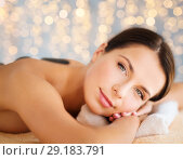 Купить «beautiful woman having hot stone therapy at spa», фото № 29183791, снято 25 июля 2013 г. (c) Syda Productions / Фотобанк Лори