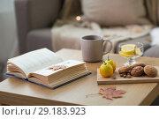Купить «book, lemon, tea and cookies on table at home», фото № 29183923, снято 15 ноября 2017 г. (c) Syda Productions / Фотобанк Лори