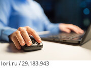 close up of female hand using computer mouse. Стоковое фото, фотограф Syda Productions / Фотобанк Лори