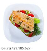 Купить «Top view of sandwich with trout fillet, guacamole, bell pepper», фото № 29185627, снято 15 октября 2018 г. (c) Яков Филимонов / Фотобанк Лори