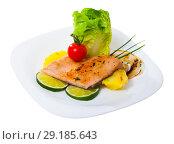 Купить «Baked trout fillet with potatoes on white plate», фото № 29185643, снято 16 октября 2018 г. (c) Яков Филимонов / Фотобанк Лори