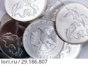 Купить «Silver coin three rubles - St. George Shoots the Dragon. Russia», фото № 29186807, снято 20 декабря 2015 г. (c) Евгений Ткачёв / Фотобанк Лори