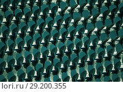 Купить «Metal tribune seating standing in lines outdoors», фото № 29200355, снято 27 июля 2017 г. (c) Сергей Новиков / Фотобанк Лори