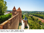 Купить «View of Carcassonne from the citadel inner wall», фото № 29200423, снято 27 июля 2017 г. (c) Сергей Новиков / Фотобанк Лори