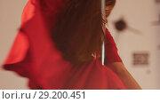 Sexy girl in red dress pole dance. Spinning around the pole. Slow motion. Стоковое видео, видеограф Константин Шишкин / Фотобанк Лори