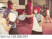 Купить «Two young boxer wearing gloves and helmet sparring», фото № 29206591, снято 12 апреля 2017 г. (c) Яков Филимонов / Фотобанк Лори