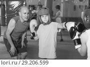 Купить «Children training on boxing ring», фото № 29206599, снято 12 апреля 2017 г. (c) Яков Филимонов / Фотобанк Лори