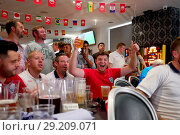 Купить «England fans at Bar 6 club in Maidstone, Kent, celebrate the national team's 2018 FIFA World Cup Quarter Final victory over Sweden. Featuring: atmosphere...», фото № 29209071, снято 7 июля 2018 г. (c) age Fotostock / Фотобанк Лори