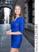Купить «Elegant girl is posing in blue dress», фото № 29215491, снято 30 июля 2017 г. (c) Яков Филимонов / Фотобанк Лори