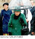 Купить «Queen Elizabeth II, accompanied by Prince Philip, attends the morning service at St. Lawrence Church in Castle Rising, Norfolk. Featuring: Queen Elizabeth...», фото № 29217883, снято 21 января 2018 г. (c) age Fotostock / Фотобанк Лори