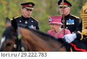 Купить «Queen Elizabeth II, as Captain General, reviews The King's Troop Royal Horse Artillery (KTRHA) in Hyde Park, London on the occasion of their 70th Anniversary...», фото № 29222783, снято 19 октября 2017 г. (c) age Fotostock / Фотобанк Лори