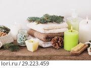 Купить «spa treatments on wooden background», фото № 29223459, снято 14 ноября 2017 г. (c) Майя Крученкова / Фотобанк Лори