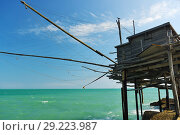 Купить «A old trabucco a typical construction for fishing. Abruzzo, Italy», фото № 29223987, снято 4 июля 2006 г. (c) Знаменский Олег / Фотобанк Лори