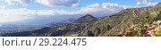 Panoramic scenic view of Mediterranean Sicilian mountains landscape (2017 год). Стоковое фото, фотограф Kira_Yan / Фотобанк Лори