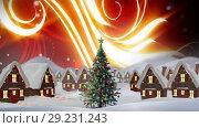 Christmas Winter village and glowing sky. Стоковое видео, агентство Wavebreak Media / Фотобанк Лори
