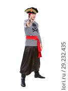 Купить «Young aiming pirate», фото № 29232435, снято 26 сентября 2015 г. (c) Сергей Сухоруков / Фотобанк Лори
