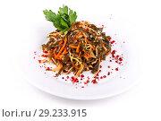 Купить «Salad of sea kale and carrots», фото № 29233915, снято 6 октября 2018 г. (c) Art Konovalov / Фотобанк Лори