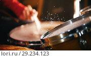 Купить «Repetition. Girl actively playing on wet drums. Water splash. Slow motion», видеоролик № 29234123, снято 8 июля 2020 г. (c) Константин Шишкин / Фотобанк Лори