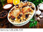 Купить «Chicken thigh baked with rice, eggplant and figs», фото № 29236131, снято 8 марта 2018 г. (c) Надежда Мишкова / Фотобанк Лори