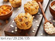 Купить «Diet oat muffins with raisins», фото № 29236135, снято 4 апреля 2018 г. (c) Надежда Мишкова / Фотобанк Лори