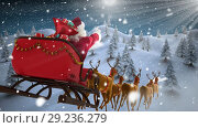 Купить «Santa in sleigh with reindeer flying with Winter forest», видеоролик № 29236279, снято 4 июля 2020 г. (c) Wavebreak Media / Фотобанк Лори
