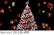 Купить «Christmas tree and falling gifts and decorations», видеоролик № 29236499, снято 31 мая 2020 г. (c) Wavebreak Media / Фотобанк Лори