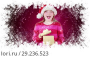 Купить «Santa girl opening gift with snowflake border», видеоролик № 29236523, снято 21 июля 2019 г. (c) Wavebreak Media / Фотобанк Лори
