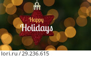 Купить «Happy holidays text and Christmas star decoration», видеоролик № 29236615, снято 5 июня 2020 г. (c) Wavebreak Media / Фотобанк Лори