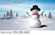 Купить «Snowman with Christmas Winter landscape», видеоролик № 29236643, снято 16 октября 2018 г. (c) Wavebreak Media / Фотобанк Лори
