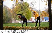 Купить «Girls warming up outside before training in park. Tilt to the left», фото № 29238647, снято 23 октября 2018 г. (c) Константин Шишкин / Фотобанк Лори