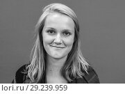 Купить «Tilburg, Netherlands. Portrait of a blonde, female student against a green background or green-screen. Black & White image.», фото № 29239959, снято 15 сентября 2018 г. (c) age Fotostock / Фотобанк Лори