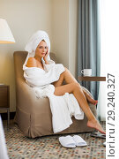 Купить «Young adult beautiful woman in hotel suit», фото № 29240327, снято 17 июля 2017 г. (c) katalinks / Фотобанк Лори