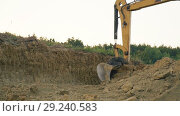 Купить «Excavator loads a truck», видеоролик № 29240583, снято 15 августа 2018 г. (c) Kozub Vasyl / Фотобанк Лори