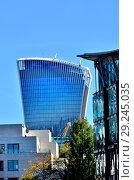 Купить «Walkie Talkie building / 20 Fenchurch Street (2014: Rafael Viñoly) London, England, UK. Seen from the West.», фото № 29245035, снято 26 сентября 2018 г. (c) age Fotostock / Фотобанк Лори