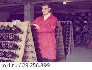 Купить «positive man wearing uniform working with bottle storage racks», фото № 29256899, снято 21 сентября 2016 г. (c) Яков Филимонов / Фотобанк Лори