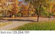 Купить «Moscow, Russia - October 17. 2018. Autumn park on clear day in Zelenograd», видеоролик № 29264191, снято 25 мая 2019 г. (c) Володина Ольга / Фотобанк Лори