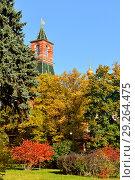 Купить «Beautiful bright autumn in Kremlin park. Moscow, Russia», фото № 29264475, снято 15 октября 2018 г. (c) Валерия Попова / Фотобанк Лори