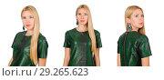 Купить «Young woman in green dress isolated on white», фото № 29265623, снято 22 сентября 2014 г. (c) Elnur / Фотобанк Лори