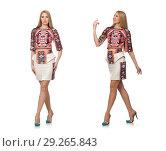 Купить «Pretty model in clothes with carpet prints isolated on white», фото № 29265843, снято 20 марта 2015 г. (c) Elnur / Фотобанк Лори