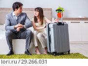 Купить «Wife seeing her husband off to business trip», фото № 29266031, снято 27 июня 2018 г. (c) Elnur / Фотобанк Лори
