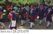 Купить «Costumed procession on the Day of Catalonia in Park de la Ciutadella», видеоролик № 29273079, снято 11 сентября 2018 г. (c) Яков Филимонов / Фотобанк Лори